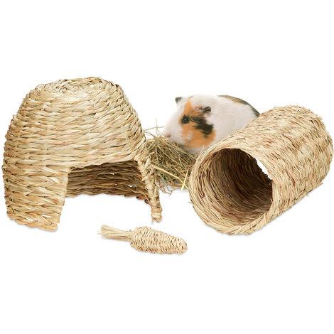 Lot de 3 accessoires pour petits animaux, maison en herbe, tunnel & carotte en paille, lapins, cochons, nature