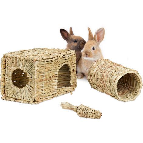 Lot de 3 accessoires pour petits animaux, maison herbe, tunnel & carotte paille, lapin, cochon d'Inde, nature