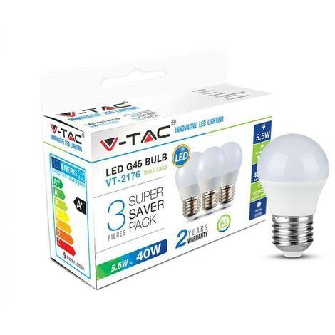 Lot De 3 Ampoules LED E27 G45  5,5W Vt-2176