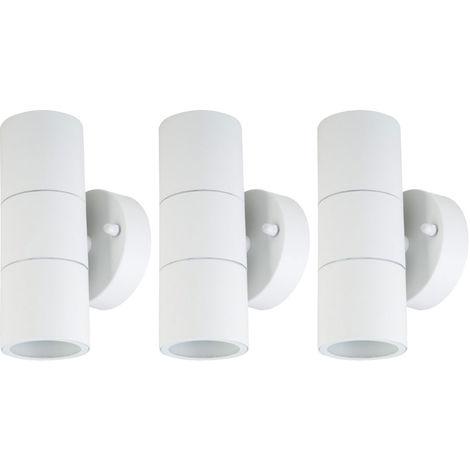 Lot de 3 appliques LED, Up & Down, verre, blanc, H 16,3 cm