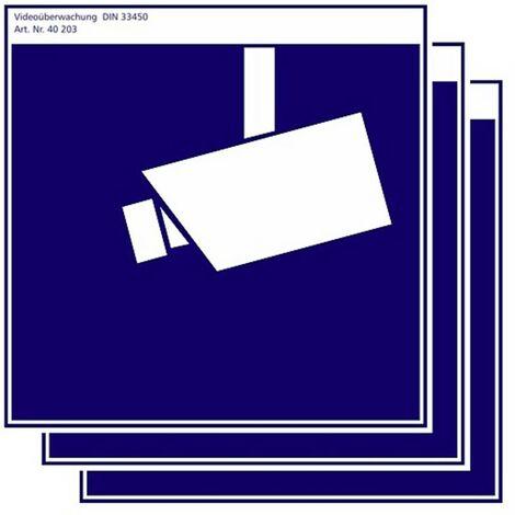 Lot de 3 autocollants de surveillance vidéo PENTATECH 40203 bleu, blanc (l x h) 100 mm x 100 mm