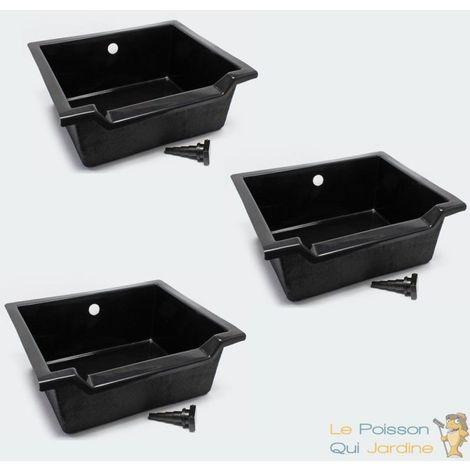 Lot de 3 Bacs pour cascade 61X 71 cm décoration pour bassins de jardin - Noir
