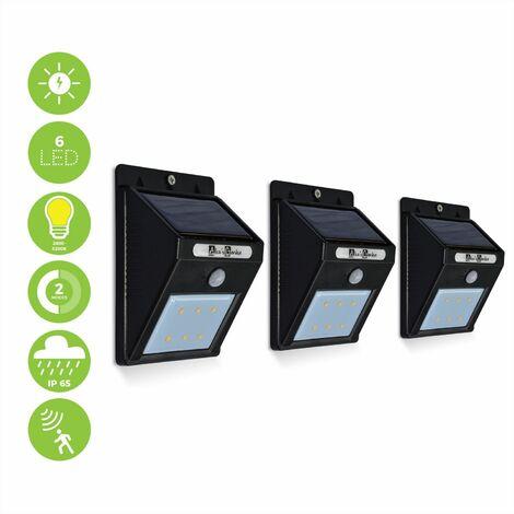 Lot de 3 balises 6 LED solaires blanc chaud, détecteur de mouvements, résistant à l'eau