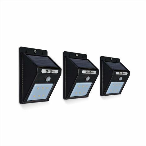 Lot de 3 balises 6 LED solaires blanc froid à détecteur de mouvements, résistant à l'eau