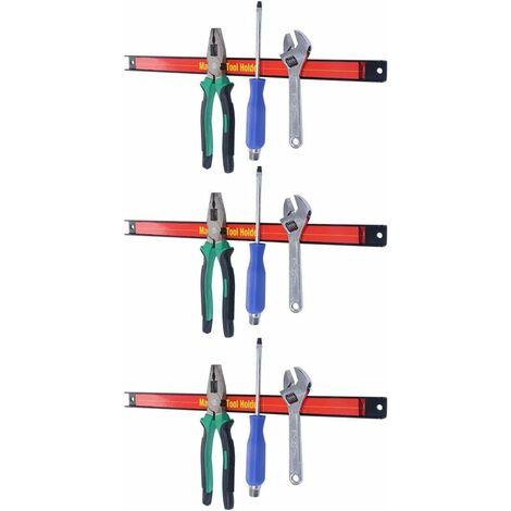 Lot de 3 Barres magnétiques Professionnelles Porte Outil avec une longueur de 46 CM et Charge max. 10 KG pour Chaque Barre