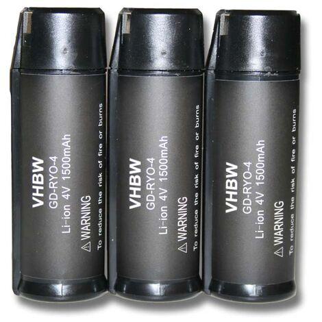 lot de 3 batteries Li-Ion vhbw 1500mAh (4V) pour outils Ryobi RP4520 Ryobi RP4530 casque anti-bruit, Ryobi Tek4 RP4300 comme Ryobi AP4001.