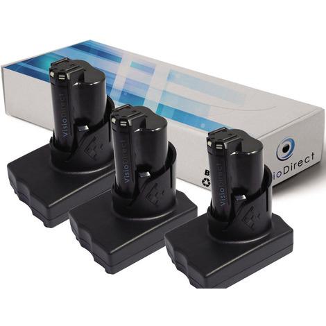 Lot de 3 batteries pour AEG Milwaukee 2411-22 marteau perforateur/visseuse 3000mAh 12V