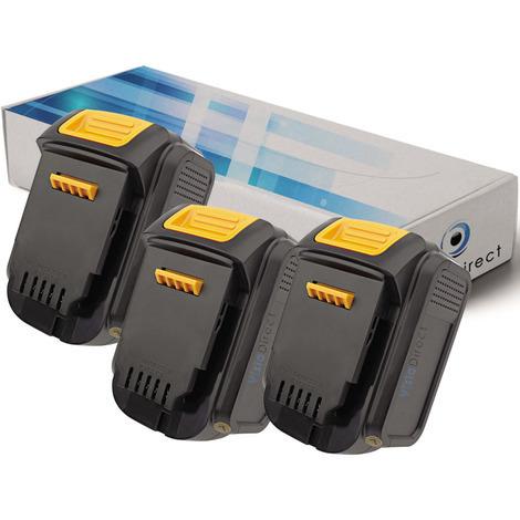 Lot de 3 batteries pour DEWALT DCL030 lampe torche 3000mAh 14.4V