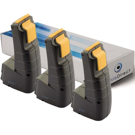 Lot de 3 batteries pour Festool FSP-488437 outils sans fil 2000mAh 9.6V