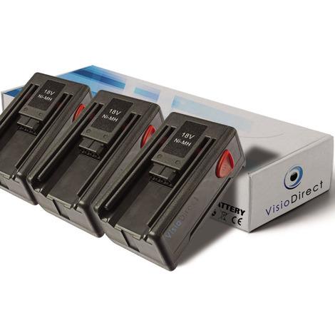 Lot de 3 batteries pour Gardena EasyCut 42 taille-haies 1500mAh 18V