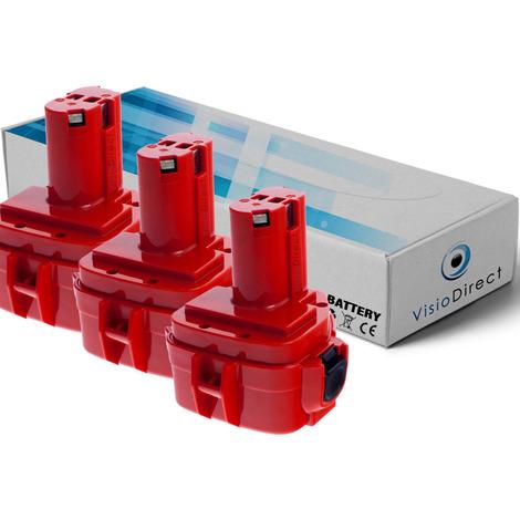 Lot de 3 batteries pour Makita 6270DWALE marteau perforateur 3000mAh 12V