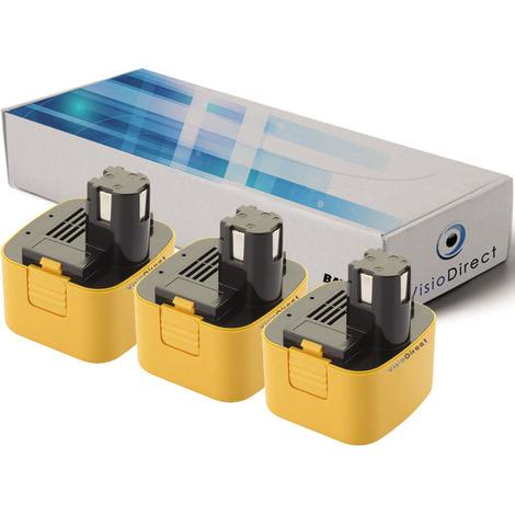 Lot de 3 batteries pour Panasonic EY3550DQG scie circulaire 3300mAh 12V