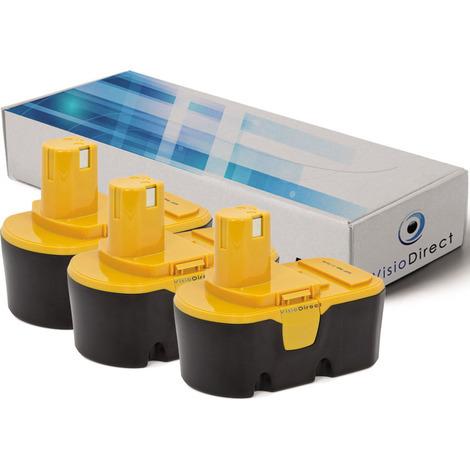 Lot de 3 batteries pour Ryobi CHV18WDM aspirateur sans fil 3000mAh 18V