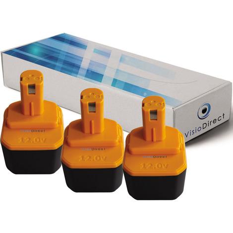 Lot de 3 batteries pour Ryobi Paslode BID1240 outillage portatif 3300mAh 12V