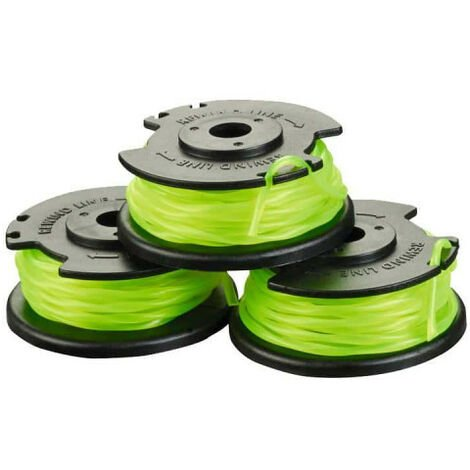 Lot de 3 bobines simple fil torsadé RYOBI 2mm pour coupe-bordures sur batterie RAC143