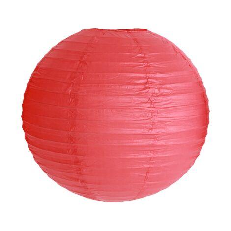Lot de 3 Boules Papier Rouge 40 cm - Boule Japonaise Rouge - Idéal pour décoration de mariage, baptême, garden-party