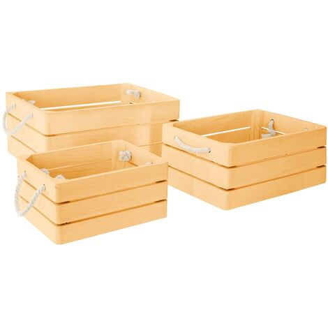 Lot de 3 cagettes en bois Dream jaune - Jaune