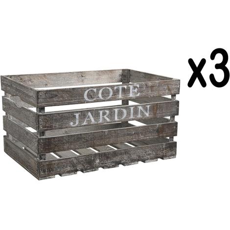 """Lot de 3 caisses en bois vieilli """"Côté Jardin"""" - Dim : 38 x 28 x 20 cm"""