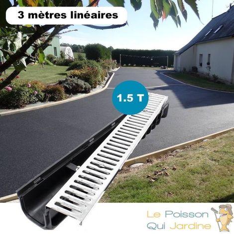 Lot de 3 : Caniveau 1 mètre 1,5 Tonnes pour drainage d'eaux usées.