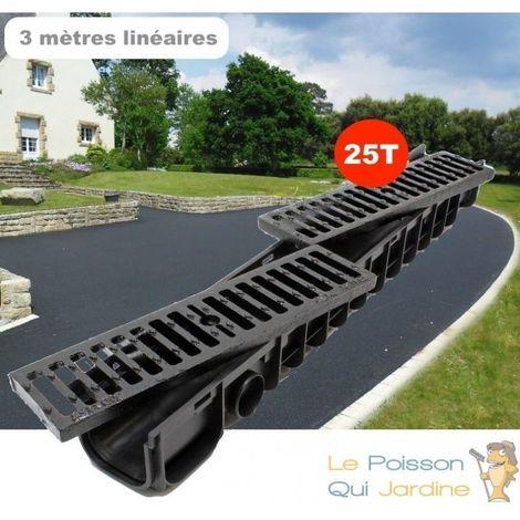Lot de 3 : Caniveau 1 mètre 25 T pour drainage d'eaux usées et de pluie