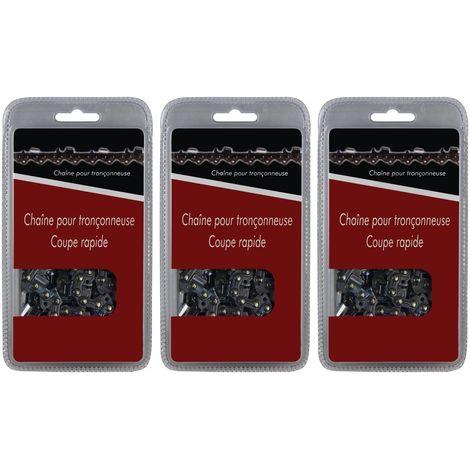Lot de 3 chaînes 50 maillons - Compatible tronçonneuses STIHL MS 170, 171 et 180