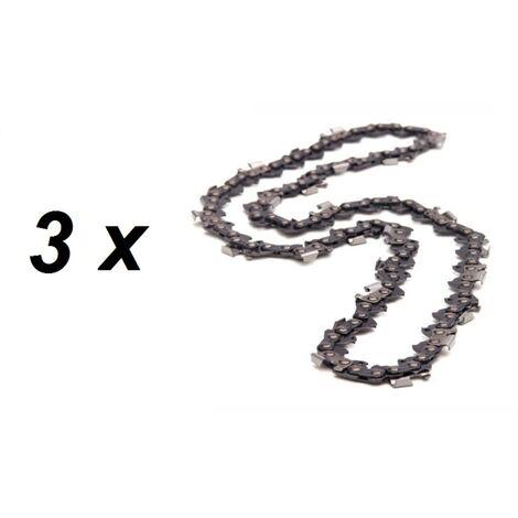 Lot de 3 chaînes 76 maillons pour tronçonneuse guide 50 cm (20 pouces)