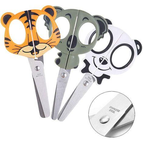 Lot de 3 ciseaux d'artisanat pour enfants avec ciseaux d'école de sécurité droitier gaucher