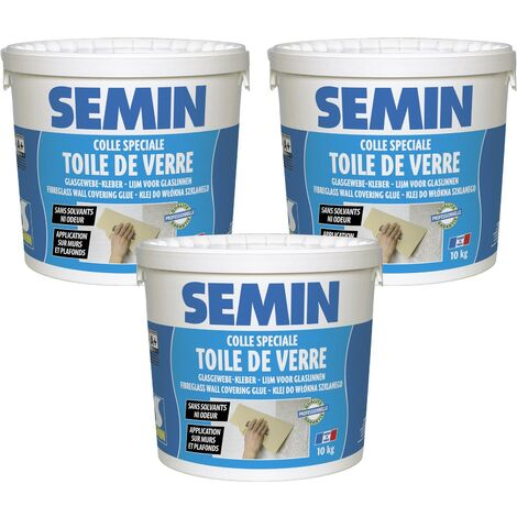 Lot de 3 colles en pâte pour toiles de verre Semin - prête à l'emploi - seau de 10 kg