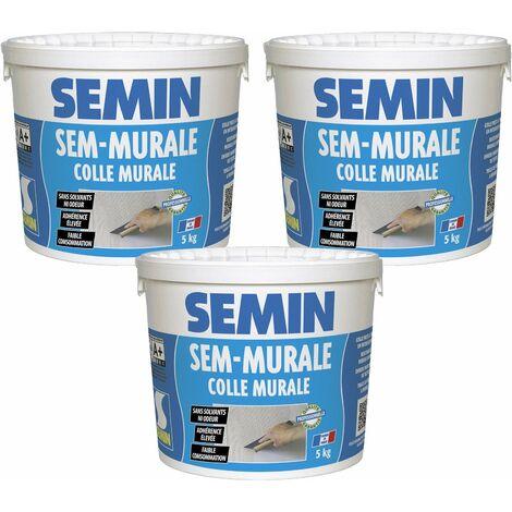 Lot de 3 colles pour toiles de verre et revêtements muraux légers en pâte Semin Sem-Murale - prêt à l'emploi - seau 5 kg