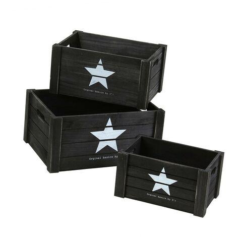 Lot de 3 cubes en bois empilables avec poignées motif étoile - Casâme