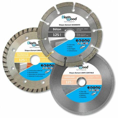 Lot de 3 disques diamant 125 x Al. 22,23 x Ht. 7/7/5 mm béton, carrelage, tuile, matériaux de construction - Diamwood