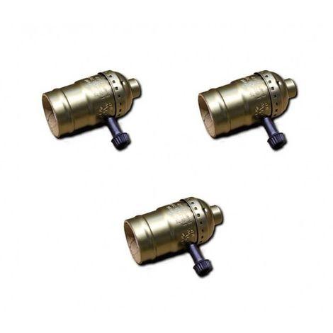 Lot de 3 Douilles Bronze de type E27 vintage avec interrupteur rotatif