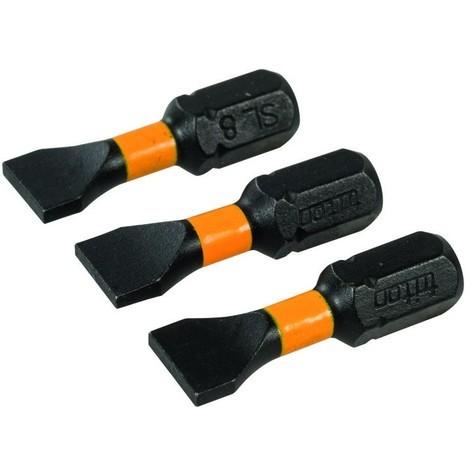 Lot de 3 embouts de vissage chocs plats Choix du modèle PL8 - 25 mm