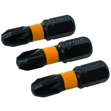 Lot de 3 embouts de vissage chocs Pozidriv Choix du modèle PZ3 - 25 mm