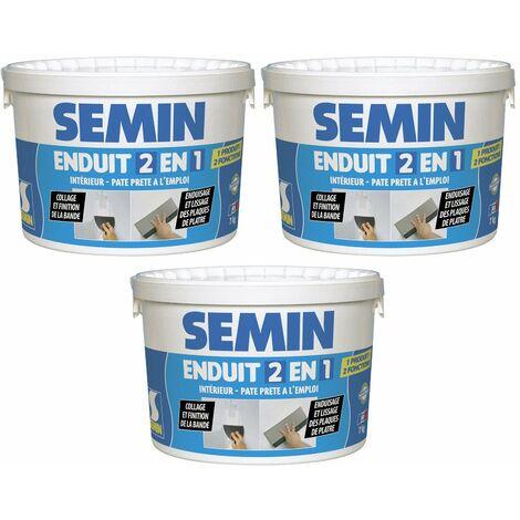 Lot de 3 enduits 2 en 1 multifonctions Semin - joint et lissage de la plaque de plâtre - intérieur - seau de 7 kg