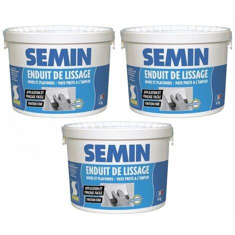 Lot de 3 enduits de lissage en pâte pour murs et plafonds Semin - intérieur - Seau de 4 kg