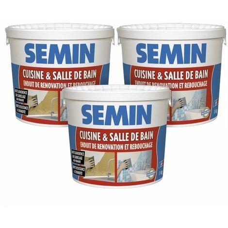 Lot de 3 enduits de rebouchage et rénovation spécial cuisine et salle de bain Semin - adapté aux pièces humides - seau de 1 kg