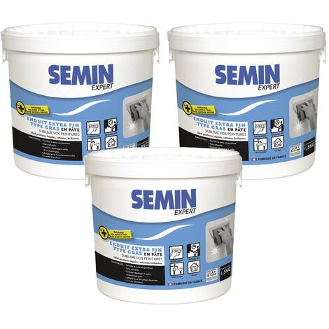 Lot de 3 enduits extra fin Semin - lissage type gras, sans solvants - séchage rapide - intérieur/extérieur - seau de 1,5 kg