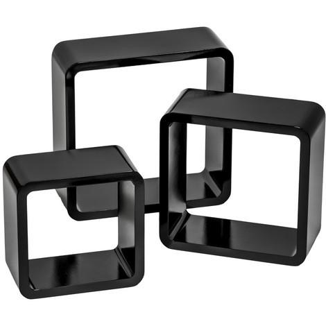 Maison Etagere Cube Etagere Cube 3 Pieces Etagere Murale En Bois Laque Noir Ou Blanc Tago Com Ph