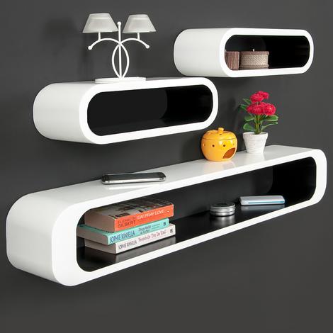 Lot de 3 étagères Cubes - Finition brillante blanche-noire - Rétro -Bibliothèque