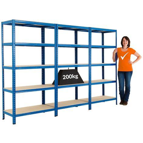 Lot de 3 étagères métalliques – Charge max. par tablette: 200 kg – h x L x P 1780 mm x 900 mm x 450 mm - Coloris montants: bleu
