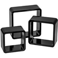 Lot de 3 Etagères Murales Design moderne Carré Cube 3 tailles différentes en Bois Blanc Noir
