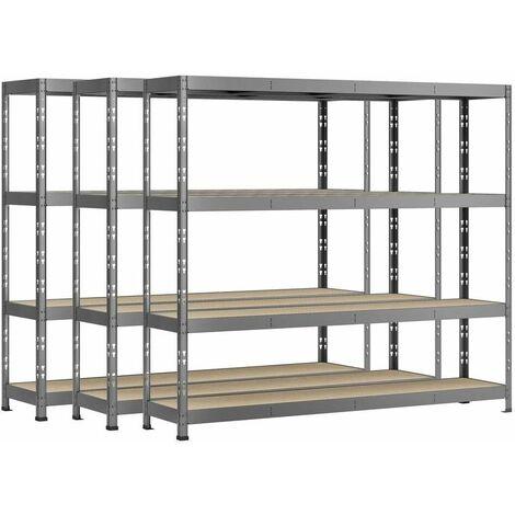 Lot de 3 étagères Rack charge lourde MODULÖ - 4 plateaux - 220 x 40 cm
