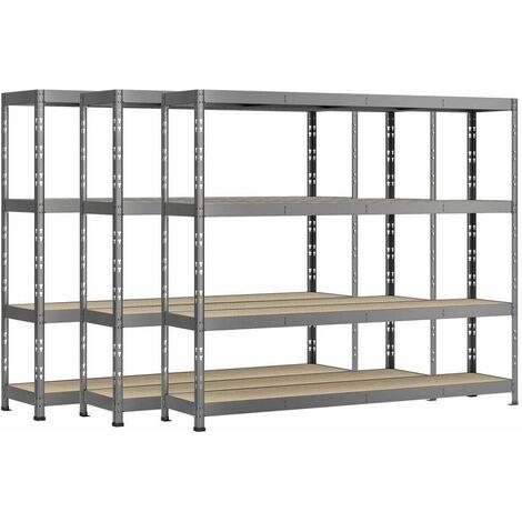Lot de 3 étagères Rack charge lourde MODULÖ - 4 plateaux - 220 x 50 cm