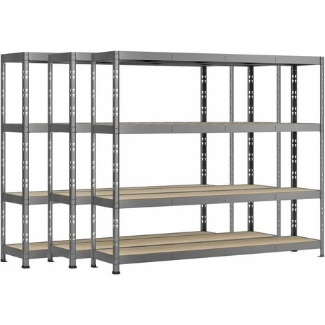 Lot de 3 étagères Rack charge lourde MODULÖ - 4 plateaux - 220 x 60 cm