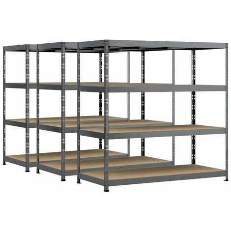 Lot de 3 étagères Rack charge lourde MODULÖ - 4 plateaux - 220 x 80 cm
