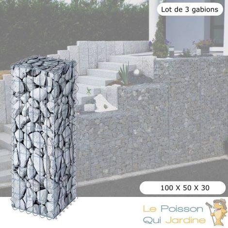 Lot De 3 Gabions En Métal Galvanisé - Robustes - Résistants - 100 x 50 x 30 cm - Acier