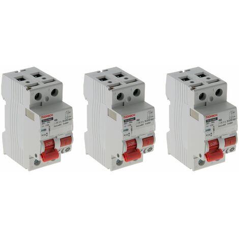 Lot de 3 interrupteurs différentiels à vis Thomson - 30mA type A 40A NF
