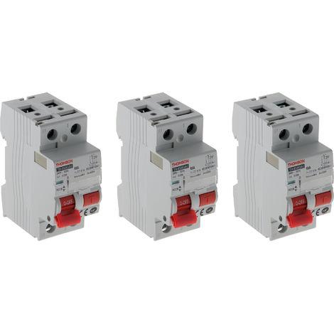 Lot de 3 interrupteurs différentiels à vis Thomson - 30mA type AC 63A NF