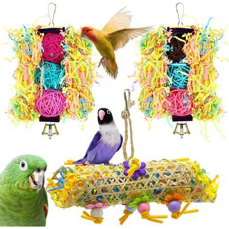 Lot de 3 Jouets pour Oiseaux à Suspendre avec Clochette, échelle en Bois pour perruches, calopsittes, perruches et Oiseaux (Jaune)
